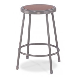 """NPS Gray Lab Stool with Round Hardboard Seat - 24"""" Fixed Height - 6224"""