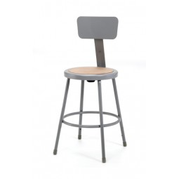 "NPS Gray Lab Stool with Round Hardboard Seat & Backrest - 24"" Fixed Height - 6224B"
