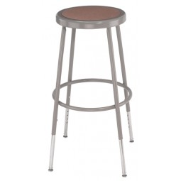 "NPS Gray Lab Stool with Round Hardboard Seat - 25""-33"" Adjustable Height - 6224H"
