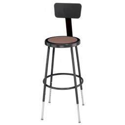"NPS Black Lab Stool with Round Hardboard Seat & Backrest - 25""-33"" Adjustable Height - 6224HB-10"