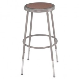 "NPS Gray Lab Stool with Round Hardboard Seat - 31""-39"" Adjustable Height - 6230H"