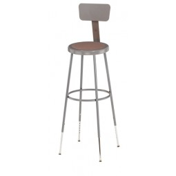 "NPS Lab Stool with Round Hardboard Seat & Backrest - 31""-39"" Adjustable Height - 6230HB"