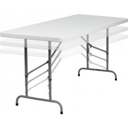 30''W x 72''L Height Adjustable Granite White Plastic Folding Table
