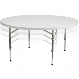 60'' Round Height Adjustable Granite White Plastic Folding Table