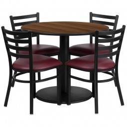36'' Round Table Set with 4 Ladder Back Metal Chairs - Walnut Laminate Table - Burgundy Vinyl Seat