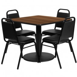 36'' Square Table Set with 4 Black Trapezoidal Back Banquet Chairs - Walnut Laminate Table Set