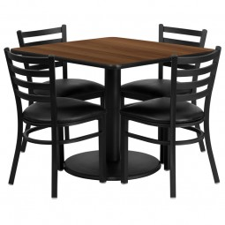 36'' Square Table Set with 4 Ladder Back Metal Chairs - Walnut Laminate Table - Black Vinyl Seat