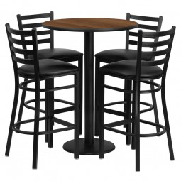 30'' Round Table Set with 4 Ladder Back Metal Bar Stools - Walnut Laminate Table - Black Vinyl Seat