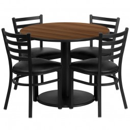 36'' Round Table Set with 4 Ladder Back Metal Chairs - Walnut Laminate Table - Black Vinyl Seat