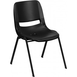 Signature Series 661 lb. Capacity Ergonomic Shell Stack Chair - 16'' Seat Height - Black with Black Frame