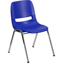 Signature Series 880 lb. Capacity Ergonomic Shell Stack Chair - 18'' Seat Height - Navy with Chrome Frame