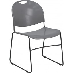 Signature Series 880 lb. Capacity High Density, Ultra Compact Stack Chair  - Gray with Black Frame