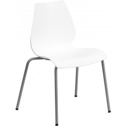 Signature Series 770 lb. Capacity Stack Chair with Lumbar Support and Silver Frame - White