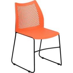 Signature Series 661 lb. Capacity Sled Base Stack Chair with Air-Vent Back - Orange