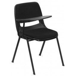 Signature Series Ergonomic Shell Stack Chair with Padded Seat and Back with Right Handed Flip-Up Tablet Arm - Black