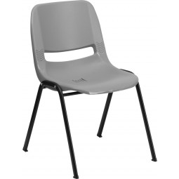 Signature Series 880 lb. Capacity Ergonomic Shell Stack Chair - Gray