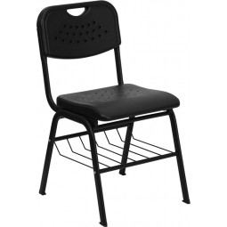 Signature Series 880 lb. Capacity Plastic Chair with Black Powder Coated Frame and Book Basket - Black