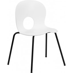 Signature Series 770 lb. Capacity Designer Plastic Stack Chair with Black Powder Coated Frame Finish - White