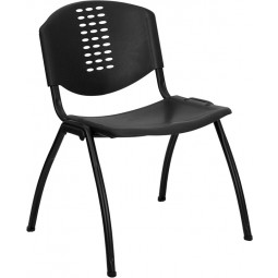 Signature Series 880 lb. Capacity Black Polypropylene Stack Chair with Black Frame Finish