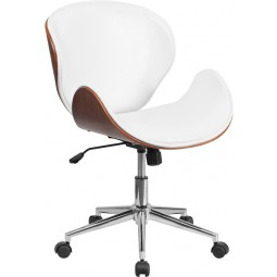 Mid-Back Wood Swivel Conference Chair in Leather - 4 Seat Options
