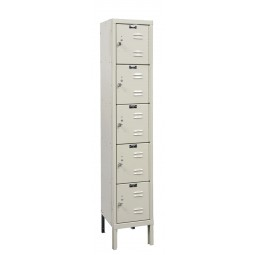 "Hallowell Premium Locker, 12""W x 18""D x 66""H, 729 Parchment, 5-Tier, 1-Wide"