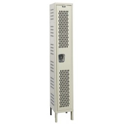 "Hallowell Heavy-Duty Ventilated (HDV) Locker, 15""W x 21""D x 78""H, 729 Parchment, Single Tier, 1-Wide"