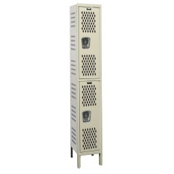 "Hallowell Heavy-Duty Ventilated (HDV) Locker, 12""W x 15""D x 78""H, 729 Parchment, Double Tier, 1-Wide"