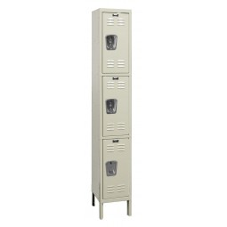 "Hallowell Premium Locker, 12""W x 15""D x 78""H, 729 Parchment, Triple Tier, 1-Wide"