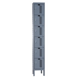 "Hallowell Heavy-Duty Ventilated (HDV) Locker, 12""W x 15""D x 78""H, 725 Hallowell Gray, 6-Tier, 1-Wide"