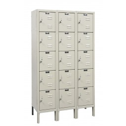 "Hallowell Premium Locker, 36""W x 15""D x 66""H, 729 Parchment, 5-Tier, 3-Wide"