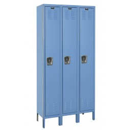 "Hallowell Premium Locker, 36""W x 15""D x 78""H, 707 Marine Blue, Single Tier, 3-Wide"