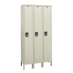 "Hallowell Galvanite Locker, 36""W x 18""D x 78""H, 729 Parchment, Single Tier, 3-Wide"