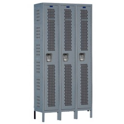 "Hallowell Heavy-Duty Ventilated (HDV) Locker, 36""W x 15""D x 78""H, 725 Hallowell Gray, Single Tier, 3-Wide"