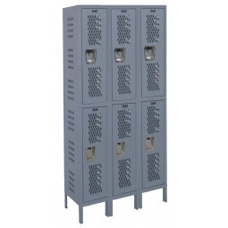 "Hallowell Heavy-Duty Ventilated (HDV) Locker, 45""W x 21""D x 78""H, 725 Hallowell Gray, Double Tier, 3-Wide"