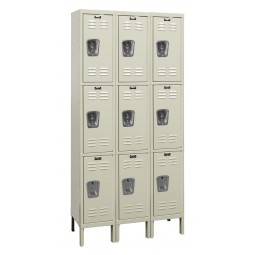 "Hallowell Premium Locker, 36""W x 15""D x 78""H, 729 Parchment, Triple Tier, 3-Wide"