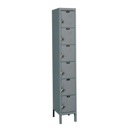 "Hallowell ReadyBuilt Locker, 12""W x 15""D x 78""H, 725 Hallowell Gray, 6-Tier, 1-Wide"