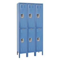 "Hallowell ReadyBuilt Locker, 36""W x 12""D x 78""H, 707 Marine Blue, Double Tier, 3-Wide"