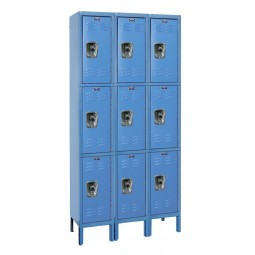 "Hallowell ReadyBuilt Locker, 36""W x 15""D x 78""H, 707 Marine Blue, Triple Tier, 3-Wide"