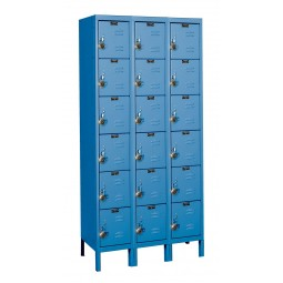 "Hallowell ReadyBuilt Locker, 36""W x 18""D x 78""H, 707 Marine Blue, 6-Tier, 3-Wide"