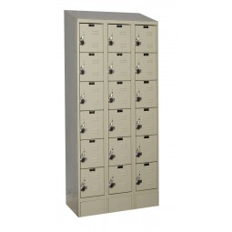 "Hallowell ReadyBuilt II Locker, 36""W x 15""D x 83""H, 729 Parchment, 6-Tier, 3-Wide"