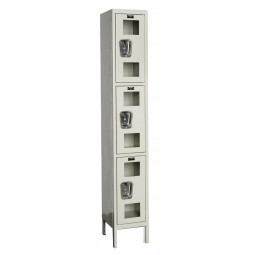 "Hallowell Safety-View Locker, 12""W x 15""D x 78""H, 729 Parchment, Triple Tier, 1-Wide"