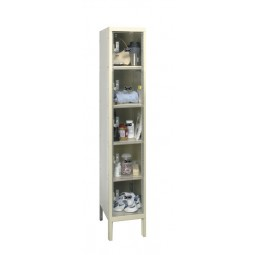 "Hallowell Safety-View Plus Locker, 12""W x 18""D x 66""H, 729 Parchment, 5-Tier, 1-Wide"