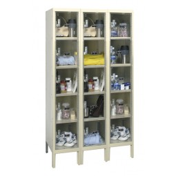 "Hallowell Safety-View Plus Locker, 36""W x 18""D x 66""H, 729 Parchment, 5-Tier, 3-Wide"