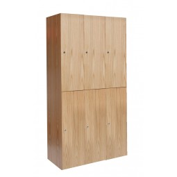 "Hallowell All-Wood Club Locker, 45""W x 18""D x 72""H, Natural Red Oak with Clear Finish, Double Tier, 3-Wide"