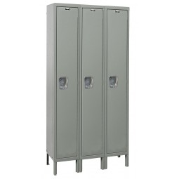"Hallowell Maintenance-Free Quiet (MFQ) Locker, 36""W x 18""D x 78""H, 725 Hallowell Gray, Single Tier, 3-Wide"