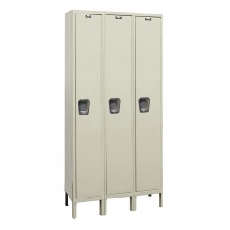 "Hallowell Maintenance-Free Quiet (MFQ) Locker, 45""W x 21""D x 78""H, 729 Parchment, Single Tier, 3-Wide"