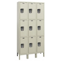"Hallowell Maintenance-Free Quiet (MFQ) Locker, 36""W x 15""D x 78""H, 729 Parchment, Triple Tier, 3-Wide"