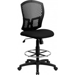 Mid-Back Designer Back Drafting Stool with Padded Fabric Seat - Black