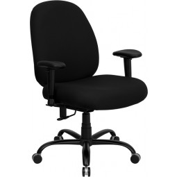 Signature Series 400 lb. Capacity Big and Tall Office Chair with Arms and Extra WIDE Seat - Black Fabric