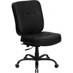 Signature Series 400 lb. Capacity Big & Tall Office Chair with Extra WIDE Seat - Black Leather